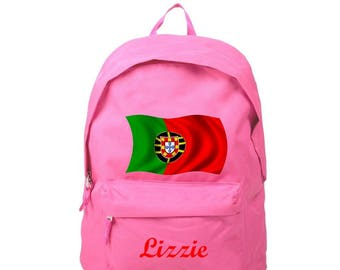 Backpack pink Portugal personalized with name