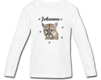 Girl long sleeve personalized with name Cougar t-shirt