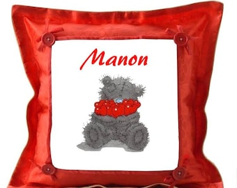 Red Teddy cushion personalised with name