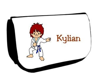 Black cosmetic case /crayons Judoka personalized with name