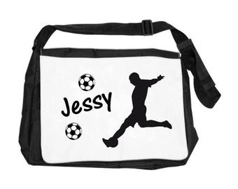 Personalized with name football player shoulder bag