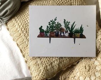 Succulent, homemade print, 8.5x11in, home decor, cardstock