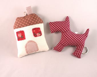 Keychains fabric X 2. Handmade, westie dog house