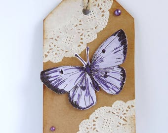 """""""Friendship"""", tag, shabby, vintage, butterfly gift tag"""