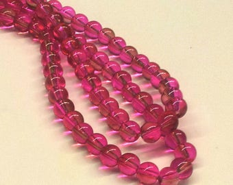 10 pearls two-toned fuchsia and Brown - T1
