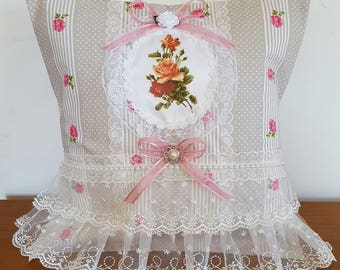 CUSHION COVER 40 X 40 SHABBY ROSES LACE AND PEARLS