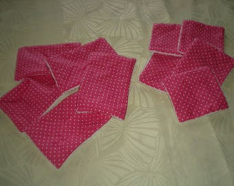 10 wipes bamboo cotton fuchsia dots: 5 square and 5 rectangles