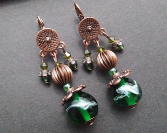 Earrings ethnic way filled and copper glass