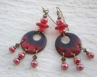Light and dark red earrings deep - enameled copper