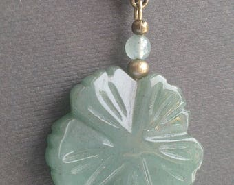 Pendant: Clover aventurine and bronze