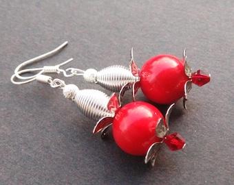 Red jade Flower Earrings