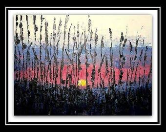 Modern art painting sunset 18x24 with or without frame / Art moderne peinture coucher de soleil avec ou sans cadre
