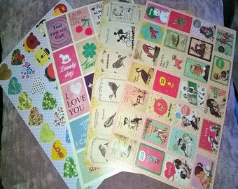 great retro, vintage style of 20.5 stickers 4 sheets * 14 cm