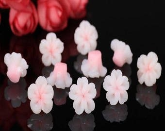 5 pearls cabochons flowers polymer clay, white pink fluorescent 15mm approx