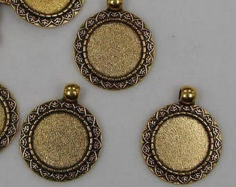 18mm;  stunning 4 holders for cabochon 18mm antique gold