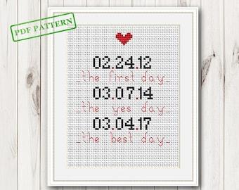 Wedding cross stitch pattern Personalized wedding sampler cross stitch Modern love cross stitch   Newlyweds gift pattern pdf download