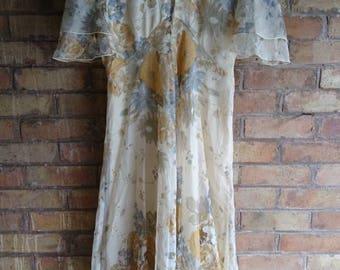 Vintage cream ruffle high neck dress.