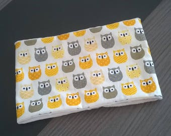 Snood / neck baby owls pattern cotton yellow and grey and cream minkee