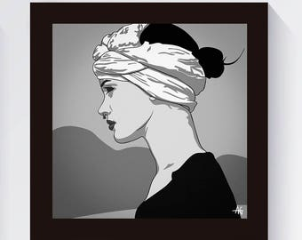 Woman In A Scarf Print