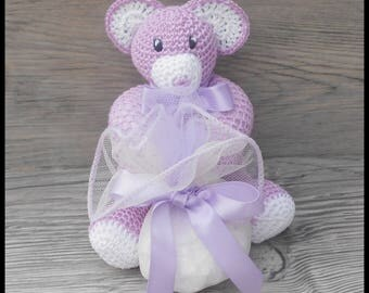 10 wearing Teddy bear purple and white crochet for baptism or birthday favors