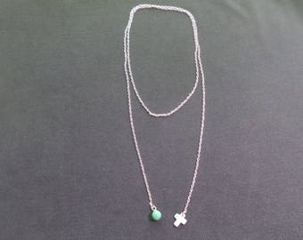 Lariat with Pearl and gemstone necklace