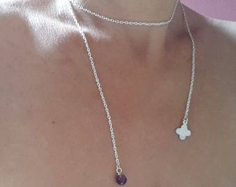 with amethyst and Pearl Lariat Necklace
