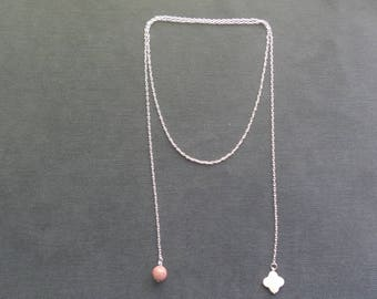 Rhodonite and mother of Pearl Lariat Necklace