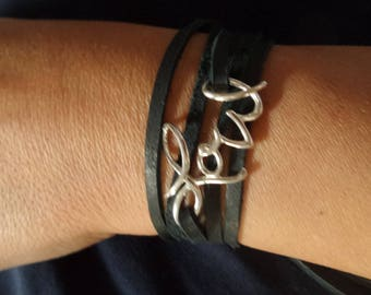 "Bracelet link in deer with ""love"" 925 sterling silver *."