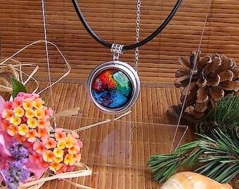 "Black leather, aluminium and cabochon pendant Choker necklace handmade ""Constellation"""