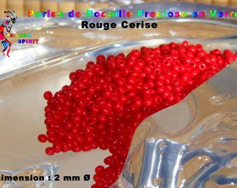 10 grams of beads from Preciosa seed glass cherry red Opaque in 2 mm to ∅ for Native American weaving