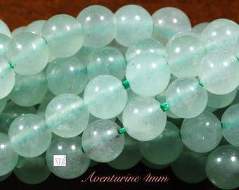 40 pale green aventurine jade stone beads 4mm round