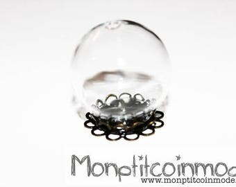 20mm - pendant Globe glass + lace support snow globe