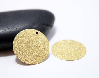 20mm - Lot de 10 sequins ronds  doré scintillant Stardust