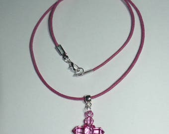 Waxed cotton necklace with matching acrylic cross fuchsia