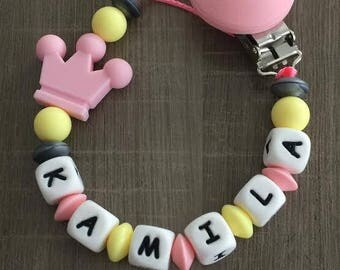 Coral pink PACIFIER clip and pale yellow - IDEAL birth gift