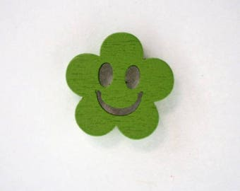 Button flower wood face smile from 19 mm x 10: Green - 001888