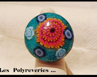 Flowers - polymer clay - unique hand - made ring