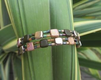 Bangle Bangle hues of autumn glass beads square miyuki tila and seed beads, Green Khaki, beige gold and Brown