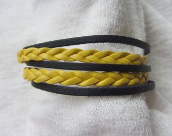 Cuff Bracelet Navy blue leather cords and leatherette, gold metal toggle clasp