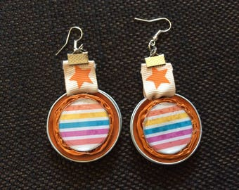 Earrings cabochon little stripes and orange recycled Nespresso capsules