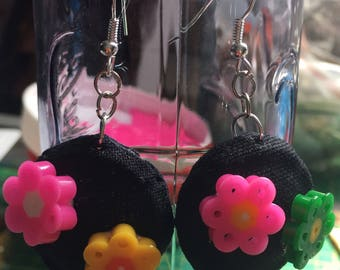 Dangling earrings in champagne with perler beads and fabric-covered Cap