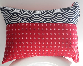 Cushion cover 35 x 45 cm. Red and blue marine theme