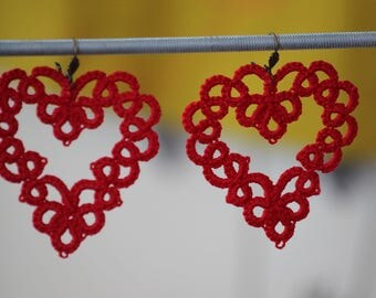 Red cotton tatted lace earrings
