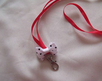 CLEARANCE clip Keychain bow red black and white