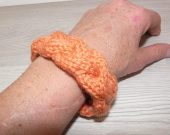 Hand knitted wool bracelet -