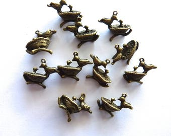 11 charms Mama birds and their kids 14 * 21 * 9 mm bronze