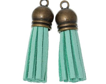 Light green suede tassels 3.9 1 11 cm with brass cap