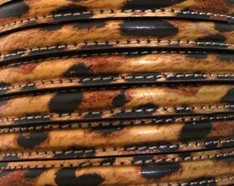 18 cm section Brown leopard circle 10 mm leather