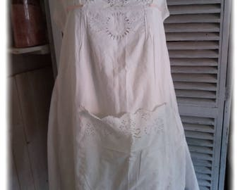 On dress apron shabby chic way embroidered openwork