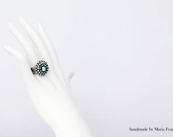 Silver- plated 925 RING decorated  with swarovski crystals